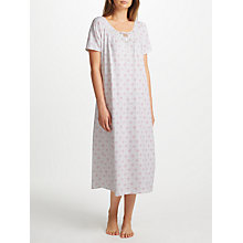 Buy John Lewis Fran Floral Print Short Sleeve Nightdress, White/Pink Online at johnlewis.com