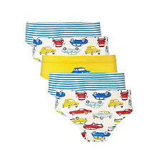 Buy John Lewis Boys' Car Print Briefs, Pack of 5, Yellow/Blue Online at johnlewis.com