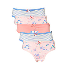 Buy John Lewis Girls' Butterfly Print Briefs, Pack of 5, Pink/Blue Online at johnlewis.com