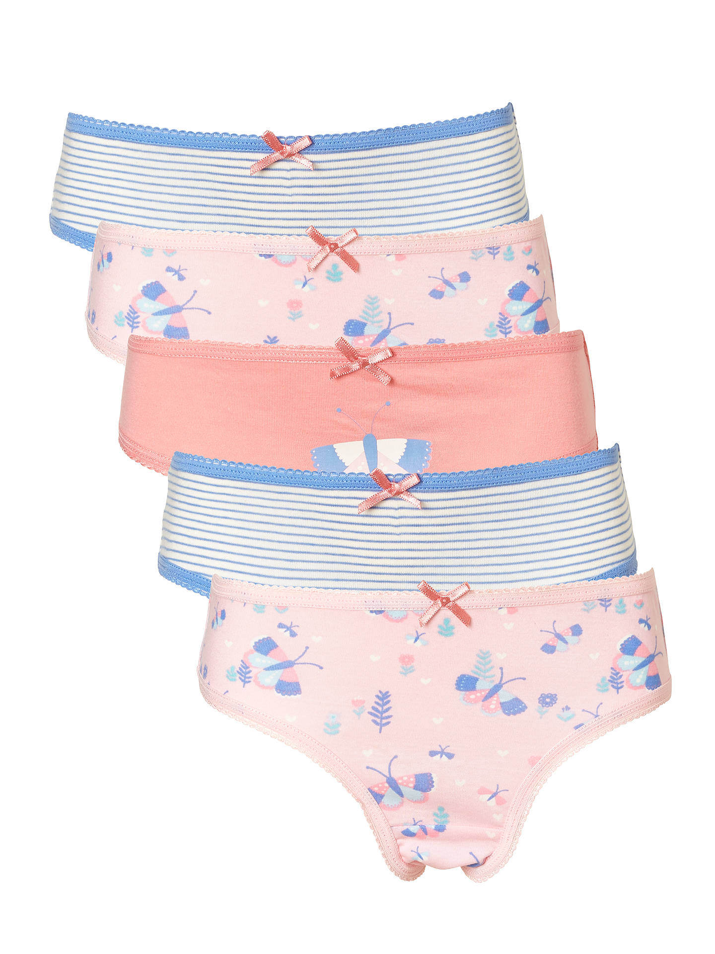 7a460357227a Buy John Lewis & Partners Girls' Butterfly Print Briefs, Pack of 5, Pink ...