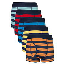 Buy John Lewis Boys' Rugby Stripe Print Trunks, Pack of 5, Multi Online at johnlewis.com