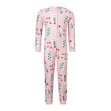 Buy John Lewis Children's Cat Print Onesie, Pink Online at johnlewis.com