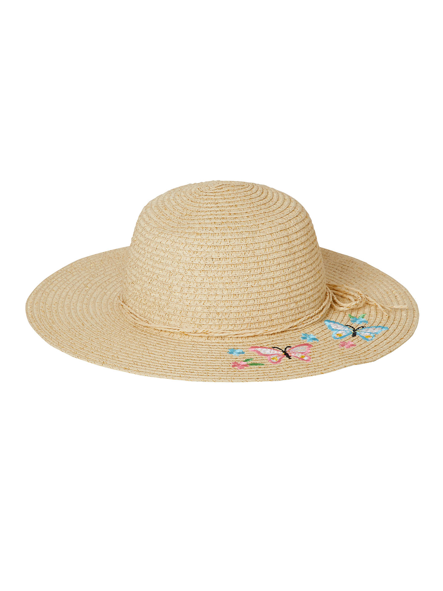 691cc079a444ef Buy John Lewis & Partners Girls' Straw Sun Hat with Butterfly, Natural, S  ...