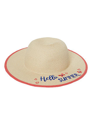 Buy John Lewis & Partners Children's Hello Summer Straw Hat, Natural, S Online at johnlewis.com