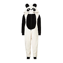 Buy John Lewis Children's Panda Fleece Onesie, Black/White Online at johnlewis.com