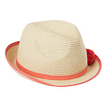 Buy John Lewis Children's Straw Trilby Hat with Pom Poms, Natural Online at johnlewis.com