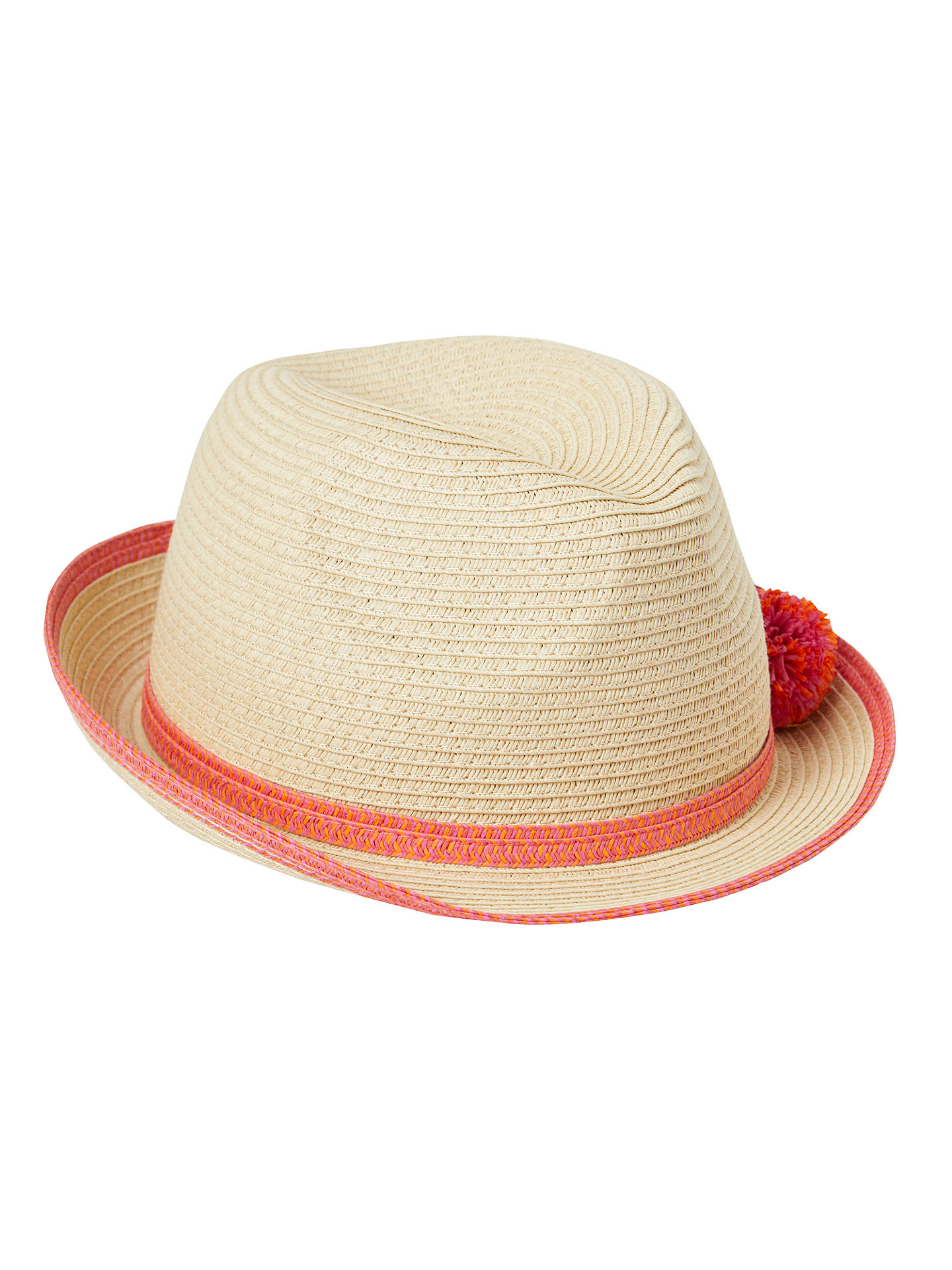 27854e40dc7a98 Buy John Lewis Children's Straw Trilby Hat with Pom Poms, Natural, S Online  at ...