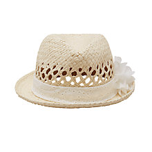 Buy John Lewis Children's Straw Trilby Hat with Flower, Natural Online at johnlewis.com