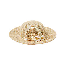 Buy John Lewis Girls' Straw Sun Hat with Flower, Natural Online at johnlewis.com
