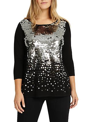 Studio 8 Eden Embellished Sequin Jumper, Black/Silver