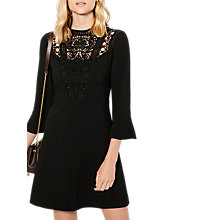 Buy Karen Millen Victoriana Lace Yoke Mini Dress, Black Online at johnlewis.com