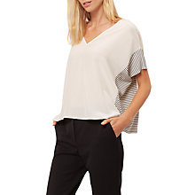 Buy Jaeger Silk Side Striped T-Shirt, Ivory Online at johnlewis.com