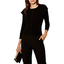 Buy Karen Millen Victoriana Frill Knitted Cardigan, Black Online at johnlewis.com
