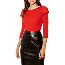 Buy Karen Millen Victoriana Pleated Frill Jumper, Red Online at johnlewis.com