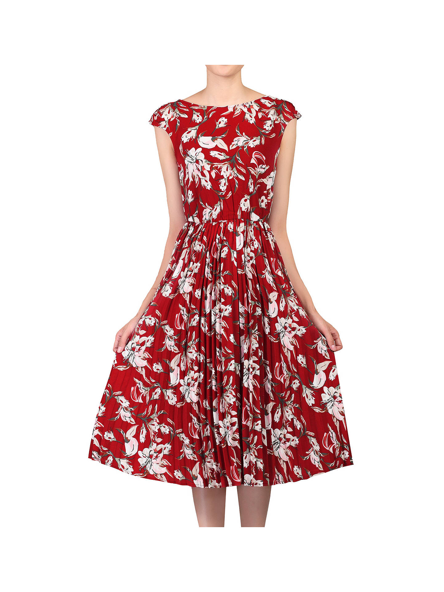 4018e43dfa14 Buy Jolie Moi Floral Print Pleated Tea Dress, Red/Multi, 8 Online at ...