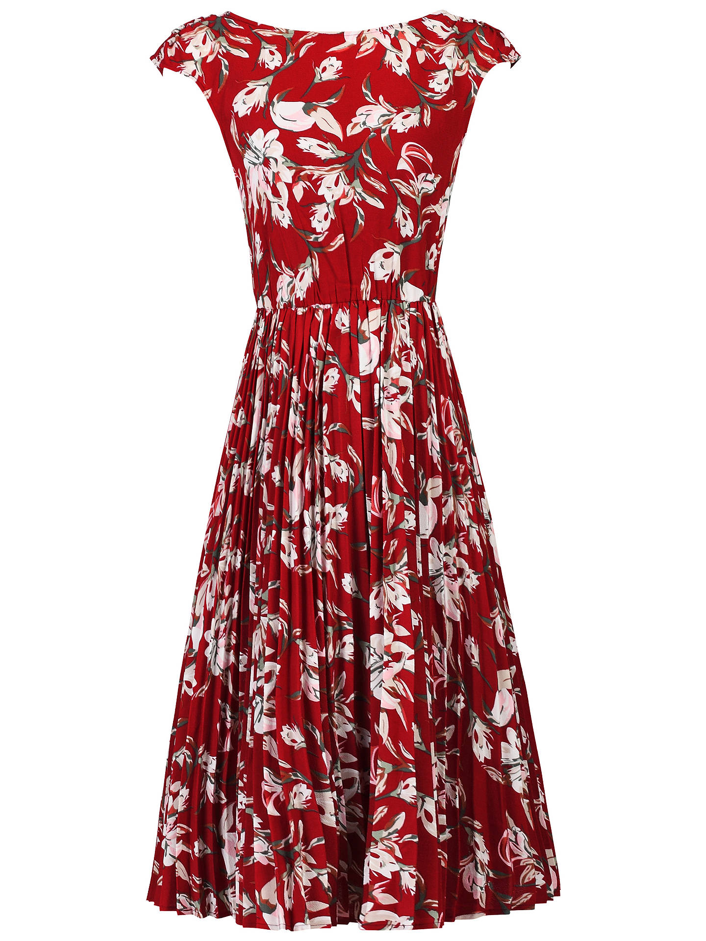 479db8de0a84 ... Buy Jolie Moi Floral Print Pleated Tea Dress, Red/Multi, 8 Online at ...