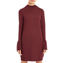 Buy Jaeger Wool Fluted Sleeve Knitted Dress, Plum Online at johnlewis.com
