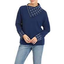 Buy Jaeger Pure Wool Double Face Check Jumper, Navy/Ivory Online at johnlewis.com