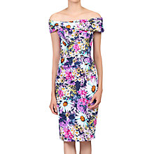 Buy Jolie Moi Floral Bardot Neckline Dress, Purple Online at johnlewis.com