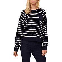 Buy Jaeger Cashmere Striped Sweater, Navy/Ivory Online at johnlewis.com