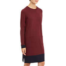 Buy Jaeger Wool Colour Block Knitted Dress, Wine Online at johnlewis.com