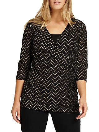 Studio 8 Milly V-Neckline Wrap Top, Black/Gold