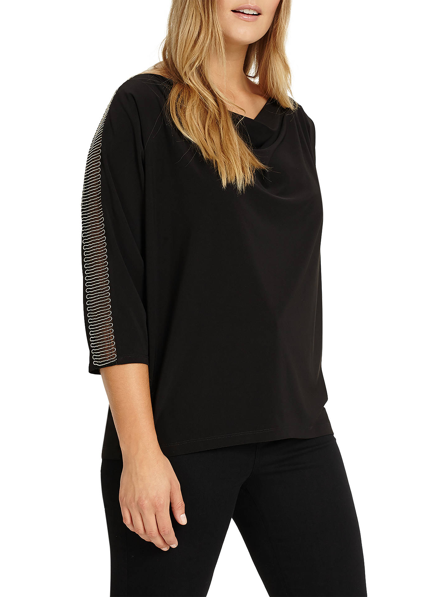 BuyStudio 8 Hannah Beaded Trim Top, Black, 14 Online at johnlewis.com