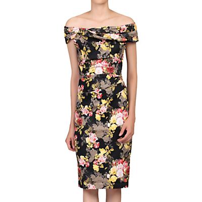 Jolie Moi Bardot Neck Lace Occasion Dress, Black/Multi
