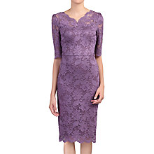Buy Jolie Moi Scalloped V-Neck Lace Dress, Dark Mauve Online at johnlewis.com