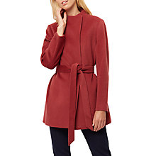 Buy Jaeger Wool Funnel Neck Belted Coat, Masala Online at johnlewis.com
