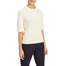 Buy Jaeger Fluted Sleeve Rib Knit Sweater, Ivory Online at johnlewis.com
