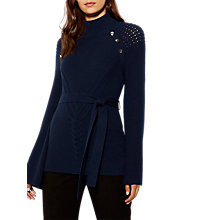 Buy Karen Millen Chunky Metalwork Tunic Jumper, Navy Online at johnlewis.com