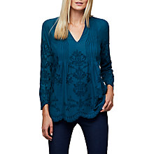 Buy East Embroidered Pintuck Top, Dark Teal Online at johnlewis.com