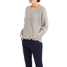 Buy Jaeger Donegal Wool Blend V-Neck Jumper, Grey Online at johnlewis.com