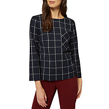 Buy Jaeger Wool Rich Check Top, Navy/Ivory Online at johnlewis.com