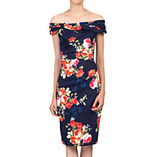 Buy Jolie Moi Floral Bardot Neckline Dress, Navy Online at johnlewis.com