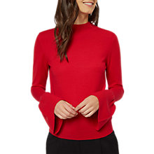 Buy Jaeger Wool Fluted Sleeve Jumper, Red Online at johnlewis.com