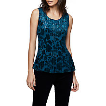 Buy East Poppy Devore Pleat Top, Dark Teal Online at johnlewis.com