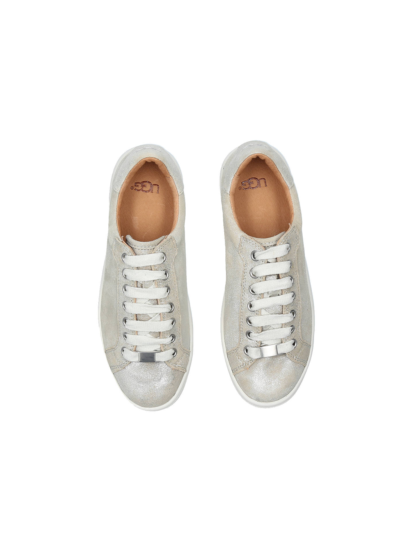 2acdc5fecb0 UGG Milo Lace Up Trainers, Silver Suede at John Lewis & Partners