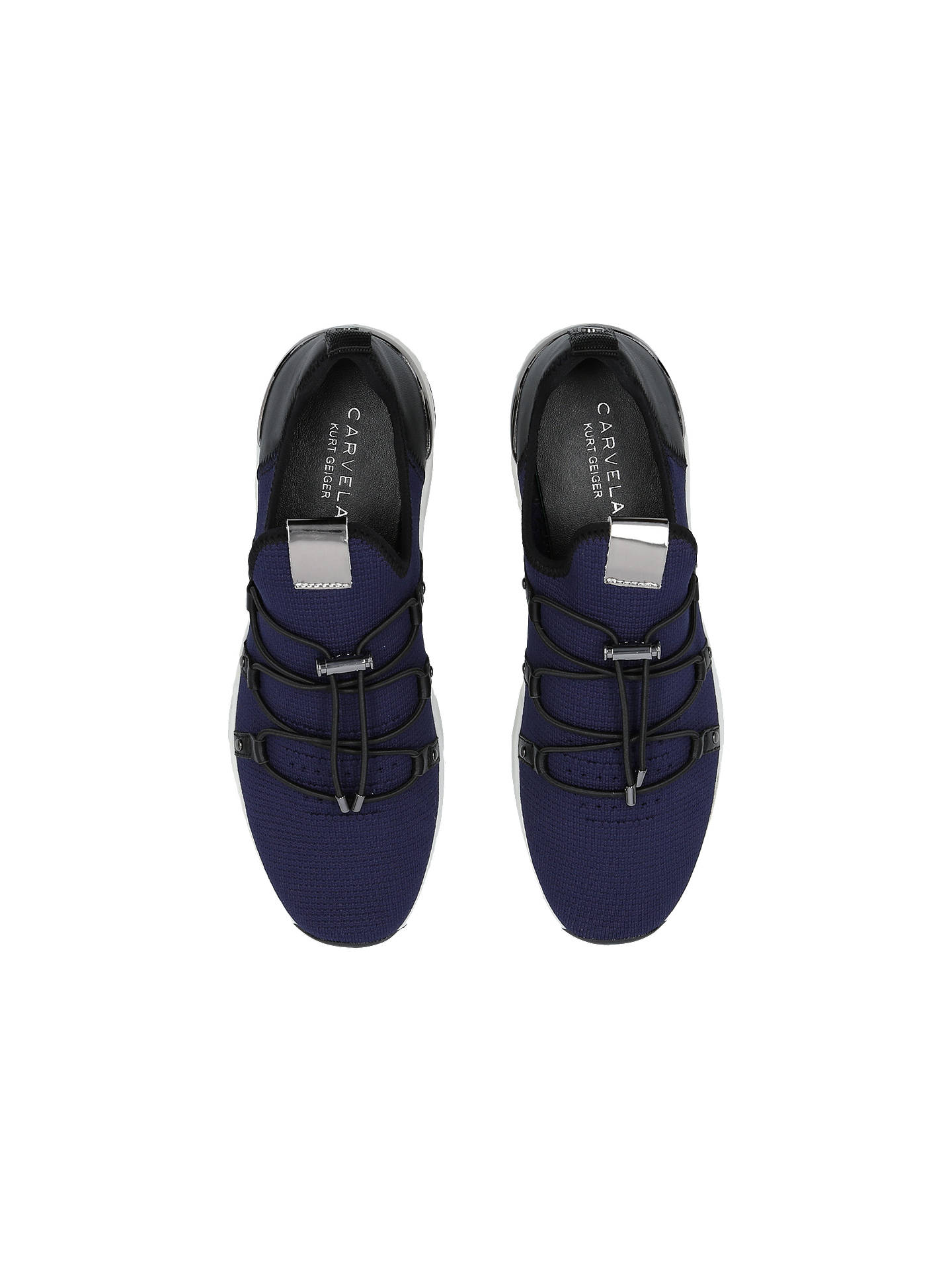 Buy Carvela Lindsey Fabric Trainers, Navy, 3 Online at johnlewis.com