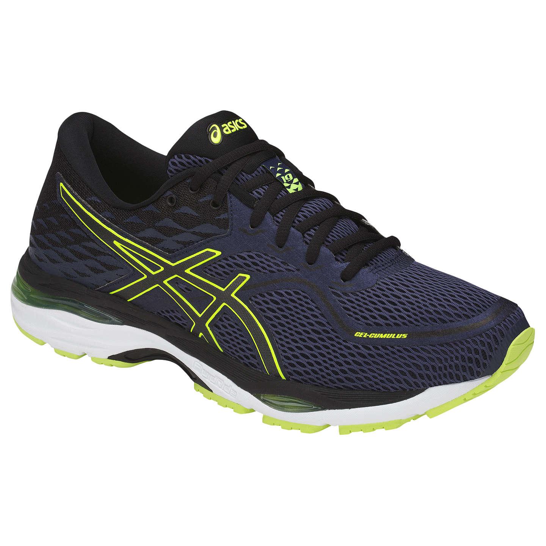 ASICS Mens Gel-Cumulus 19 Running Shoe, Indigo Blue/Black/Safety Yellow, Size 12.5