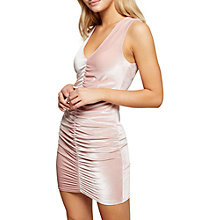 Buy Miss Selfridge Velvet Rouched Mini Dress, Pink Online at johnlewis.com