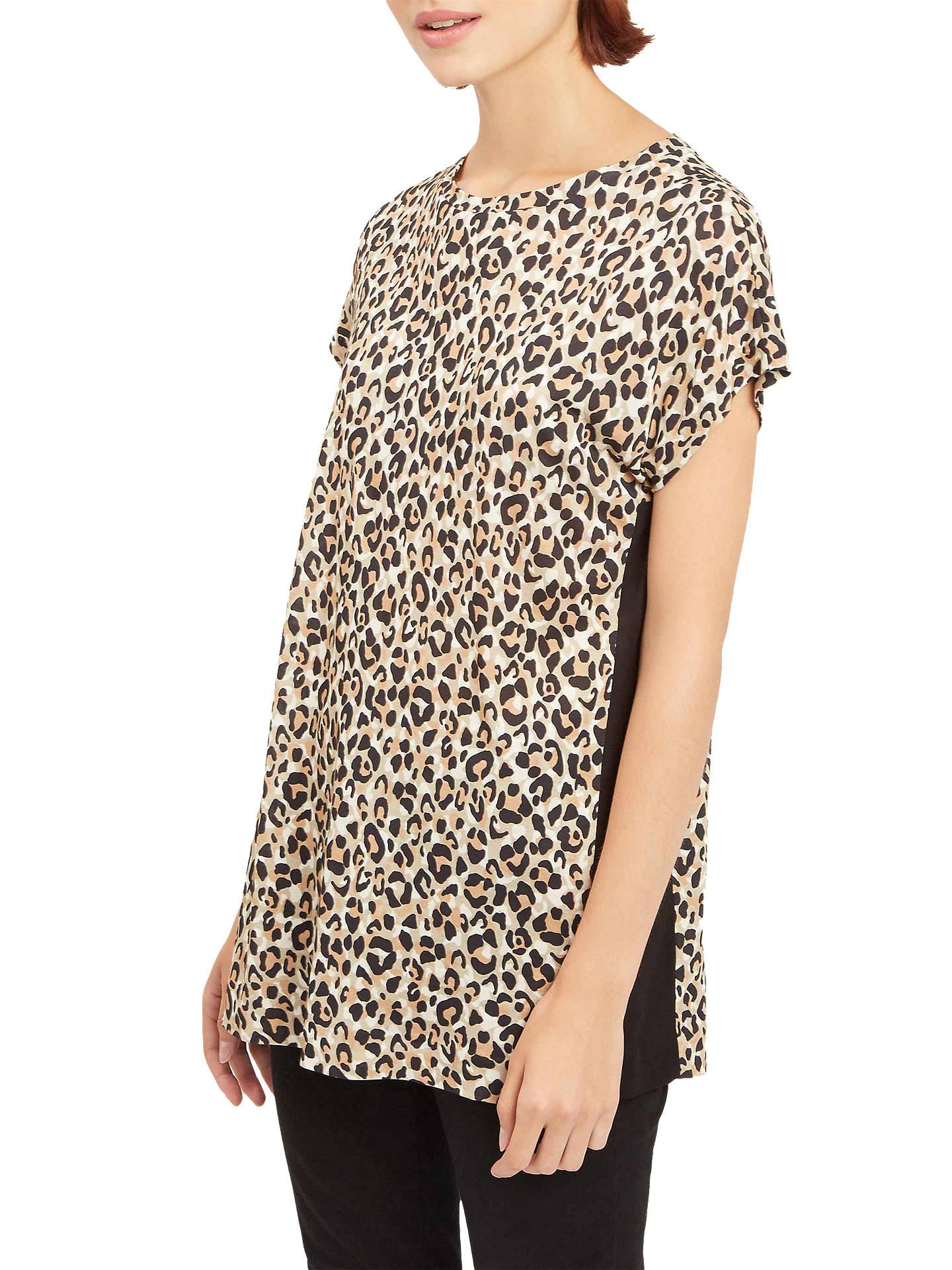 cfa1467bb741 Buy Jaeger Jersey Leopard Print Top, Black/Green, XS Online at johnlewis.