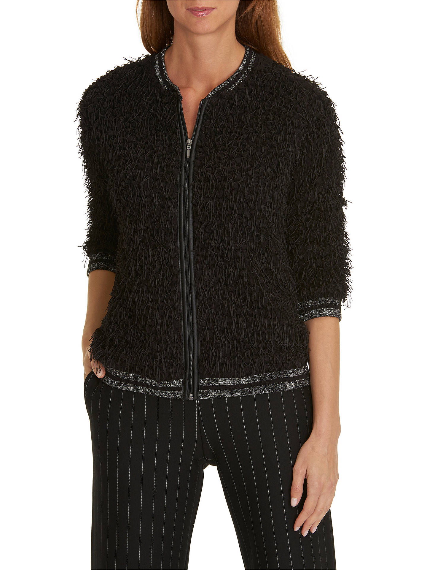 BuyBetty & Co Shaggy Textured Zip Cardigan, Black, 10 Online at johnlewis.com