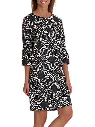 Betty & Co. Monochrome Bell Sleeve Dress, Black/Cream