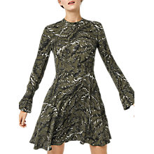 Buy Warehouse Fern Print Long Sleeve Dress, Green Online at johnlewis.com