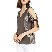 Buy Oasis Metallic Tie Shoulder Top, Gold Online at johnlewis.com
