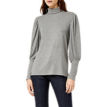 Buy Warehouse Mutton Sleeve Roll Neck Polo Top, Dark Grey Online at johnlewis.com