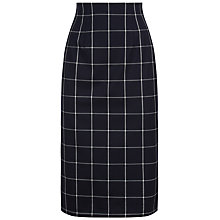 Buy Jaeger Wool Check Pencil Skirt, Navy/Ivory Online at johnlewis.com