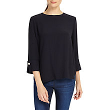 Buy Phase Eight Bettie Cuff Detail Blouse, Navy Online at johnlewis.com